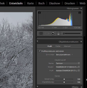 Lightroom Objektivkorrekturen