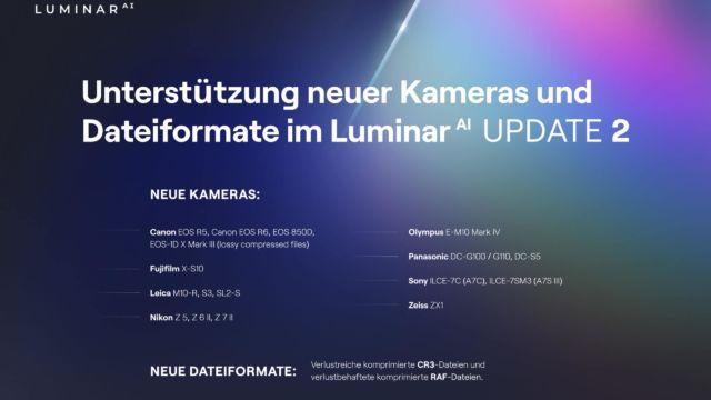Luminar AI Upd 2 - neue Kameras und Dateiformate